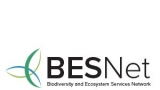 Biodiversity and Ecosystem Services Network logo. White with the words BESNet above the words Biodiversity and Ecosystem Services Network