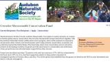 Screenshot of the Crowder-Messersmith Conservation Fund page. Features a photo of people gathering water and a photo of some people birding. Includes information about the fund to one side.