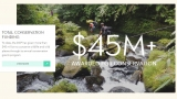 Screenshot of the Disney Conservation Fund website. Shows a stream flowing over rocks with the words $45M+ awarded for conservation over the top and some further information about the fund to the left.