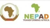 "Logo from the New Partnership for Africa's Development (NEPAD). Features an image of Africa in a circle and an image of Africa with the words ""NEPAD Transforming Africa."""