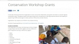 Screenshot of the WWF Conservation Workshop Grant homepage featuring a photo of people collaborating over a document and some information about the grant.
